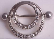 Brustpiercing Nippel Shield mit Kristallen Silber Farbe