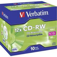 Cd-rw vergine 700 mb verbatim 43148 10 pz jewel case riscrivibile