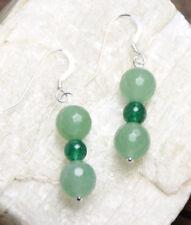 Aventurine Green 8mm Ball Natural Gemstone Earrings .925 Sterling Silver Hooks