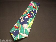 Golf  neck tie Nicole Miller silk  1993 Golf clubs / Golf Balls /Tee  very good
