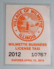 2013 Wilmette Illinois Vehicle Taxi License Permit Decal Sticker...Free Ship!