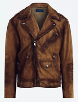 Ralph Lauren Polo Distressed Classic Brown Suede Leather Biker Moto Jacket Med M