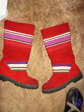 CATS RED SUEDE OIL RESISTANT WALKING/FASHION BOOTS.SIZE 3
