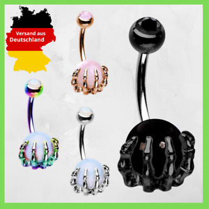 Belly Button Piercing Dragon Claw Piercing Claw Hand Pearl Zirconia Pendant