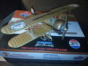 1993 Amoco Stearman Bi-Plane Airplane Bank MIB Amoco Ultimate