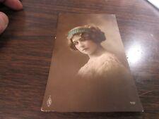 ORIGINAL ANTIQUE - VICTORIAN LADY COLOR PORTRAIT - POST CARD #2 - 1914