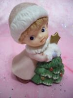 *RARE VTG* Christmas Girl Angel in Pink Holds Christmas Tree Too Cute