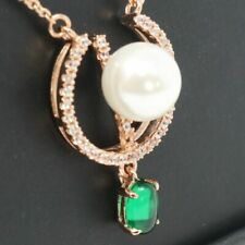 """AAA White Round Akoya Pearl Green Emerald Pendant Necklace 18"""" Chain Rose Gold"""