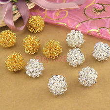 6Pcs Silver Plated,Gold Plated Metal Winding Beads Findings 12mm P1015