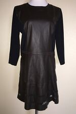 4f38da410697 ELIE TAHARI Brown Leather Laser Cut Long Sleeve Dress Size 14 NEW