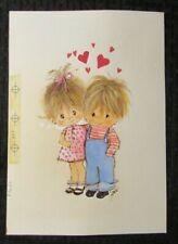 "VALENTINES DAY Cute Boy & Girl w/ Hearts 7x10"" Greeting Card Art #3431"