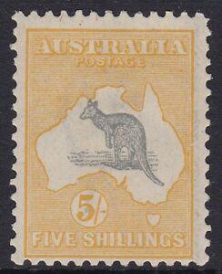 K1325) Australia 1918 5/- Grey & Deep Yellow 3rd wmk. Kangaroo, fresh mint hinge