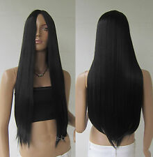 "Women Black 28"" Long Cosplay Party Wigs Heat Resistant Full Straight Hair Wig"
