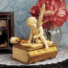 Cherub Penning Letter Sculptural Box Treasure Chest Lid Antique Vintage Storage