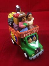 Lima Peru Ceramic Sculpture Volvo Bus Ride PAPA Travelers Handmade Folk Art