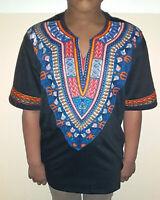 Men's African Print Dashiki T-Shirt | Ultra Soft, Short Sleeve Cotton (Black)