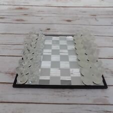 Traditional 32 Piece Crystal Clear & Frosted Glass Chess Table Game Set Kit