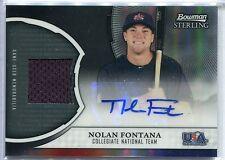Nolan Fontana 2011 Bowman Sterling USA Baseball AUTO Black REF Swatch RC #3/25