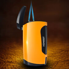 HONEST Cigar Lighter Double Flame Refillable Inflatable With Cigar Punch