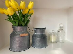Silver zinc rustic metal vintage style milk churn vase planter shabby