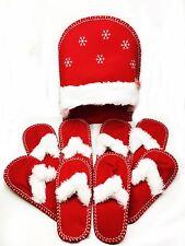 Red Christmas Snowflake Santa Soft Slippers Set Party Festive Felt Gift Unisex