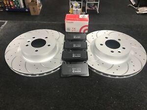 RANGE ROVER SPORT 3.6TDV8 BRAKE DISCS DRILLED GROOVED BRAKE PADS FRONT