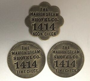 3 Antique Time & Noon Check Brass Tags: MARION STEAM SHOVEL Co; Matched (Tool)