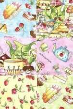 "Tea & Sweets 30 4"" fabric squares quilt cotton quilting desserts children party"