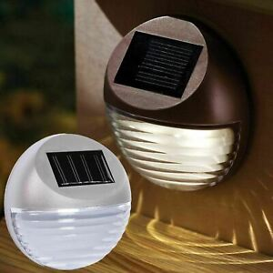 Solar Powered Led Garden Fence Lights Wall Light Patio Outdoor Security Lamps