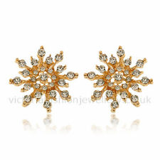 DIAMANTE SNOWFLAKE Stud Earrings GOLD PLATE Winter Christmas Crystal Party Star