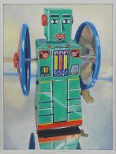Giampaolo Frizzi Klatu' serie giocattoli vintage robot toys quadro olio su tela