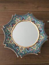 Ceramic Flowered Hand Painted Mirror diameter 34-36 Cm