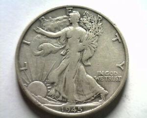 1945-S WALKING LIBERTY HALF DOLLAR VERY FINE+ VF+ NICE ORIGINAL COIN BOBS COINS