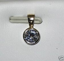14k yellow gold solid bezel round 6mm 0.75ct cz pendant, total weight 1.20 gram
