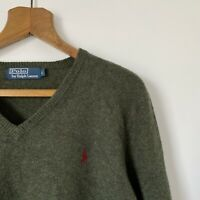 Mens Polo Ralph Lauren Khaki Green V Neck Jumper Size Large Lambs Wool Pullover