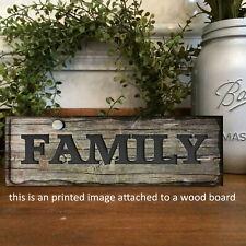 "Family Rustic  Sign Shelf Sitter Vintage Style Farmhouse Decor 8x3x1/8"""