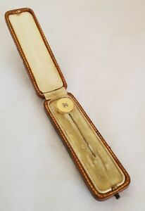 """Antique Yellow Gold stick/tie pin.Set with an """"Old mine cut Diamond """" .10cts"""