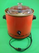 RETRO RIVAL Orange CROCK POT w/ Inserts & Lid Model 3100/2 Food Pattern WORKING!