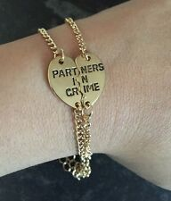 PARTNERS IN CRIME Best Friends 2 BRACELETS - Gold Colour UK Stock