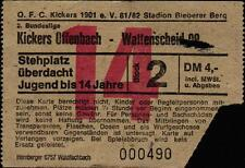 Ticket II. BL 81/82 Kickers Offenbach - SG Wattenscheid 09, 15.05.1982