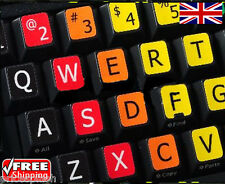 English UK/US LARGE LETTER Learning Coloured Keyboard Stickers Letters Laptop PC