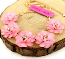 Hot Enamel Jewelry Betsey Johnson Pink flowers clavicle Chain Necklace Fine