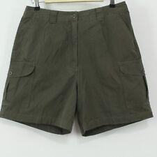 L.L. Bean Green 100% Cotton Cargo Hiking Shorts Women's Size 12