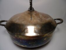 """CONTINENTAL SILVER CO.Silver Plate Serving Casserole Dish Covered Bowl W 9""""xH 4"""""""