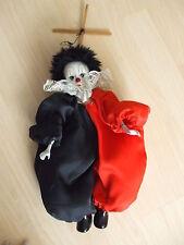 Marionette Porzellan Puppe Clown guter Zustand 37 cm hoch
