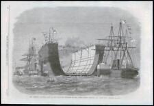 1869 Antique Print - KENT SHEERNESS BLACK DEEP CHANNEL BERMUDA FLOATING DOCK(048