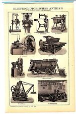 1894 ENGINEERING Electric Motor Machines, Drill, Sewing machine,,, Antique Print
