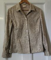 Country Casuals CC Faux Suede Shirt Top UK 12 Beige Floral