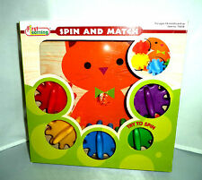 First Learning Spin & Match Wooden Cat Base Spinning Gears Color Match Game! NIB