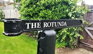 """Vintage London Signpost Cast Metal Direction Sign THE ROTUNDA Size 38""""x3.5""""x1"""""""